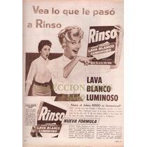 Publicidad - Rinso Jabon Luminoso - Año 1958