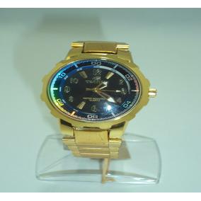 Relógio Tecnet Masculino Branco Azul Dourado Pulseira Aço
