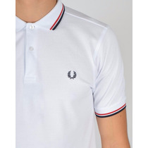 Polo Fred Perry Original (blanco-rojo-negro) En Stock