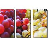 Quadros Decorativos Fruta Cachos Uvas 3 Peças