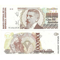 Billete 100.000 Australes Serie A Año 1989 Sin Circular -