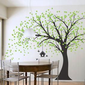 Increíble Vinilo Decorativo Árbol 180x180 Más Hojas Pájaros