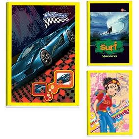 30 Cadernos Brochura 1/4 - 48 Folhas - Capas Sortidas
