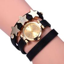 Relógio Feminino Quartzo Pulseira De Couro Strass Estrelas