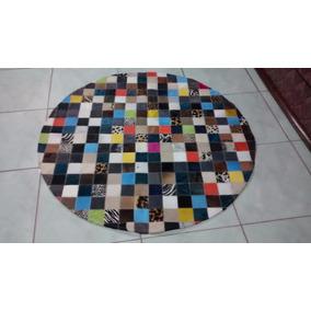 Tapete De Couro Redondo Colorido 1,50 De Diâmetro