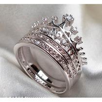 Anillo Corona Reyna Princesa Plata Diamante .925 Churumbela!