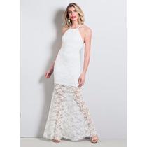 Vestido De Renda Longo Festa Sexy Branco
