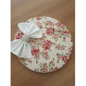 4 Kits Sousplat C/ Capa Floral Jacquard ( Guardanapos E Pgs)