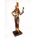 Deusa Egípcia Hator Bronzeado 29 Cm Escultura Decoração