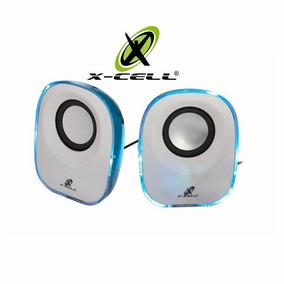Caixa De Som Multmimidia Com Led 5w Branca/azul X-cell