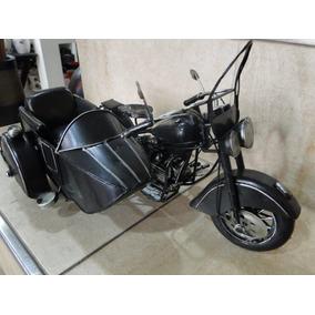 Moto Sidecar De Chapa Antiguo Hojalata De Colección