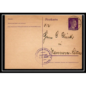 Raro Postal 2º Guerra Postkarte Carimbos Escritos De Época