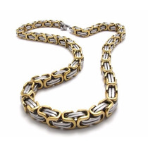 Corrente Masculino Aço Inox Cirúrgico Grosso Cor: Prata/ouro
