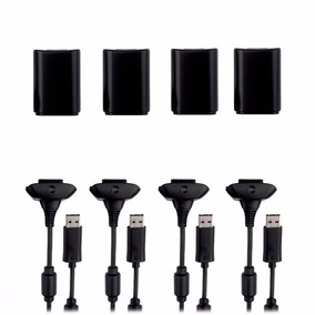 Kit 4 Bateria E Carregador P/ Controle Xbox 360 20000mah 35h