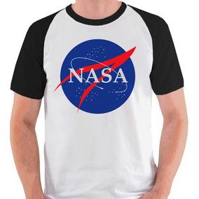 Camiseta Nasa Raglan Camisa Blusa Cinza Branca Mangas Pretas