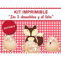 Kit Imprimible Los Tres 3 Chanchitos Para Nena Candybar Deco