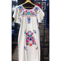 Vestido Bordado Mexicano De Algodón.