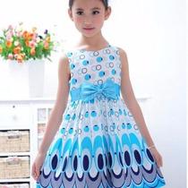 Vestido De Fiesta Niña 6 Años Azul Blanco