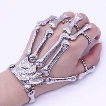 Bracelete Pulseira Caveira Mão De Ossos Esqueleto Prateado