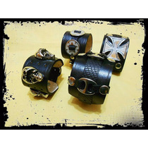 Muñequera Cuero Unisex! Heavy Rock Moto! Diseños Exclusivos!