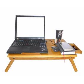 Mesa De Bambu Con Base Enfriadora 2 Ventiladores Laptop