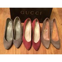 Tres Pares Zapatos Tacones Gucci Suede Vintage Originales!!