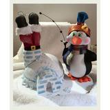 Centro Mesa Navidad Pinguino Pescando A Santa En Foami 3d