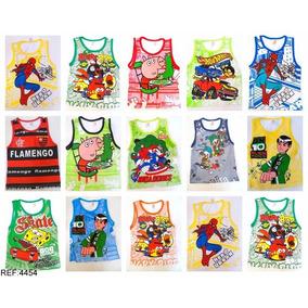 Kit Com 10 Camiseta Regata Infantil Personagem Variados