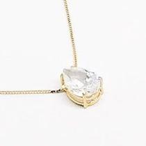 Corrente E Pingente Em Ouro 18k Com Pedra Zircônia Gota