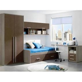 Moderno Juego De Dormitorio Completo De 1 Plaza Mod. Ryo