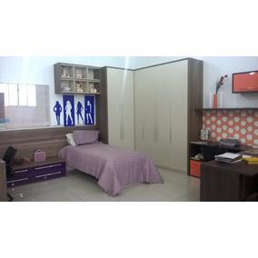 Dormitorio Planejado,cama ,escrivania E Criados Em Laca Roxa