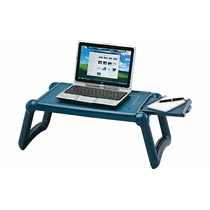 Mesa Multifuncional Notebook Laptop Bandeja Lateral Azul