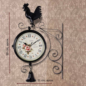 Reloj Doble Vintage De Pared, Gallo Negro.