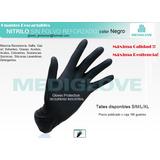 Guante Descartable Mediglove Nitrilo Negro Reforzado Smlxl