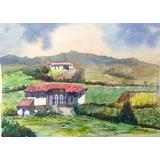 Acuarelas Originales # 10 De 19x14 Cms Únicas Casas De Campo