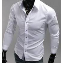 Camisa Branca Slim 100% Algodão Fio 80 Apronta Entrega!