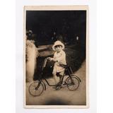 Antigua Foto Postal Niño Y Bicicleta Circa 1950