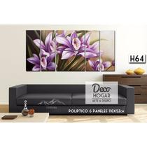 Cuadro Flores 6 Paneles 110x52cm Decorativo Moderno