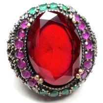 Hlo-anel Turquia Turco Prata 925 Cristal Rubi Rubi Esmeralda