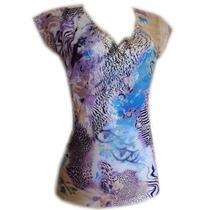 Blusa Fem Decote V C/ Renda Mg Curta Azul Estampado Tam M Re