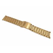 Pulseira Aço Dourada 24mm C/ Fecho Seguro Terminal Reto [g3]