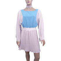 Vestido De Chifon Bege/azul Com Renda Na Cintura