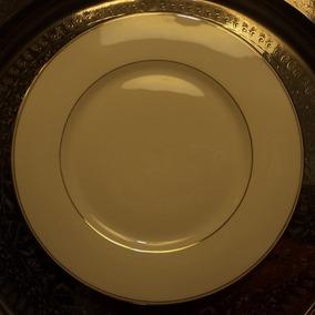 Fino Plato Porcelana Limoges Para Masas Ribetes En Oro