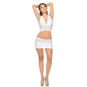 Pollerita Engomada Blanca Drapeada -minifalda-sexy