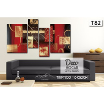 Cuadro Abstracto Triptico 140x52cm O 110x52cm Moderno Living