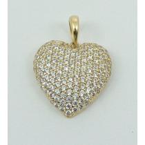Pingente Coração Zirconia Ouro 18k 750 Especial Dia Das Mães
