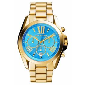 Reloj Michael Kors Mk5975 Bradshaw 36mm Cronógrafo Dorado