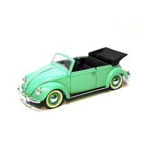 Vw Beetle Sedan Convertible Green Escala 1/17solido