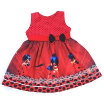 Vestido Ladybug 100% Algodão Tam 8, 10, 12 Anos
