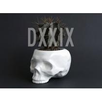 Maceta Ceramica Craneo Calavera Skull Blanco
